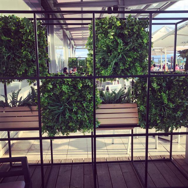 Green wall Paneele 50x50cm 🤩  ✅im Online-Shop erhältlich ✨  #greenwall #pflanzenwand #terassendeko  #cafeeinrichtung #biergarten #ausseneinrichtung #dekoration #kunstpflanzen #grünewand #wanddeko #custommade #instadesign